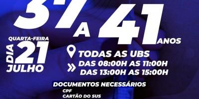 Vacina para pessoas com 37 a 41 anos será amanhã em Rolim de Moura