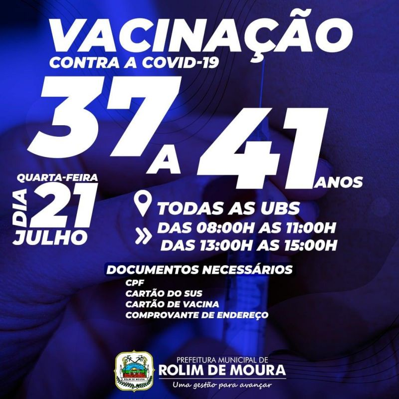 Vacina para pessoas com 37 a 41 anos será na próxima quarta-feira em Rolim de Moura