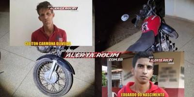 Após a prática de roubo e tentativa de fuga por várias ruas da cidade, bandidos acabaram presos pela PM em Rolim de Moura; uma moto furtada e celular roubado foram recuperados