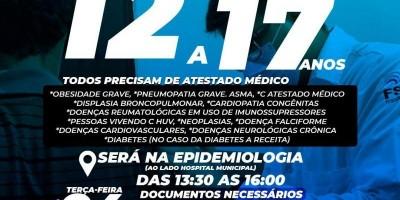 Em Rolim de Moura vacinação para adolescentes de 12 a 17 anos contra a COVID-19 com comorbidades começa na terça-feira, 24