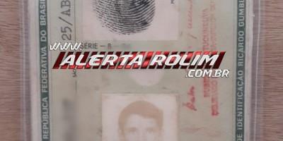 Encontrada em Rolim de Moura uma cédula de identidade em nome de Adjalma José de Souza