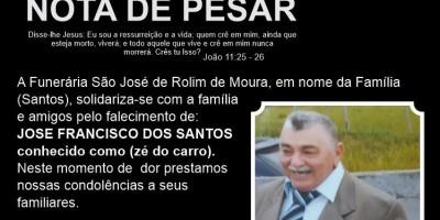 """Funerária Pax São José emite nota de pesar pelo falecimento de José Francisco, popular """"Zé do Carro"""""""