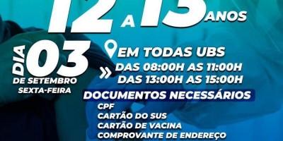 Prefeitura abre vacinação para adolescentes de 12 e 13 anos contra a COVID-19 nesta sexta-feira em Rolim de Moura