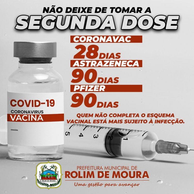 Prefeitura de Rolim de Moura orienta a população a não deixar de tomar a segunda dose da vacina