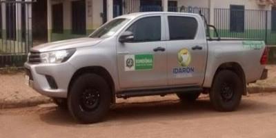 Servidores públicos são rendidos por criminosos e caminhonete da IDARON é atravessada para a Bolívia