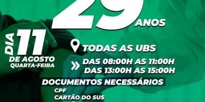 Vacina para pessoas com 29 anos será dia 11 de Agosto em Rolim de Moura
