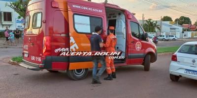 Colisão entre carro e moto no Boa Esperança deixa um ferido nesta tarde em Rolim de Moura