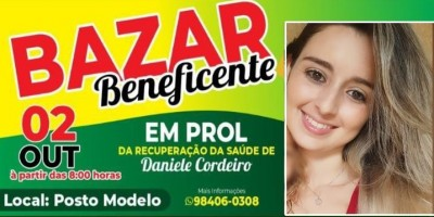 Bazar beneficente em prol de Daniele Cordeiro acontece neste sábado em Rolim de Moura; Ela foi vítima de um grave acidente de trânsito