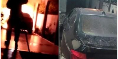 BMW pega fogo em garagem e quase incendeia residência em RO