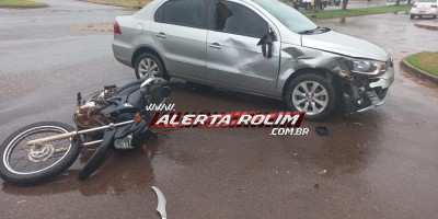 Colisão entre carro e moto resulta em dois feridos nesta manhã de sexta-feira em Rolim de Moura