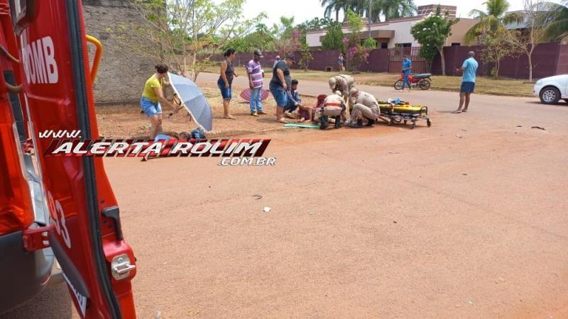 Motorista de carro foge do local após avançar via e causar grave acidente no bairro Cidade Alta em Rolim de Moura