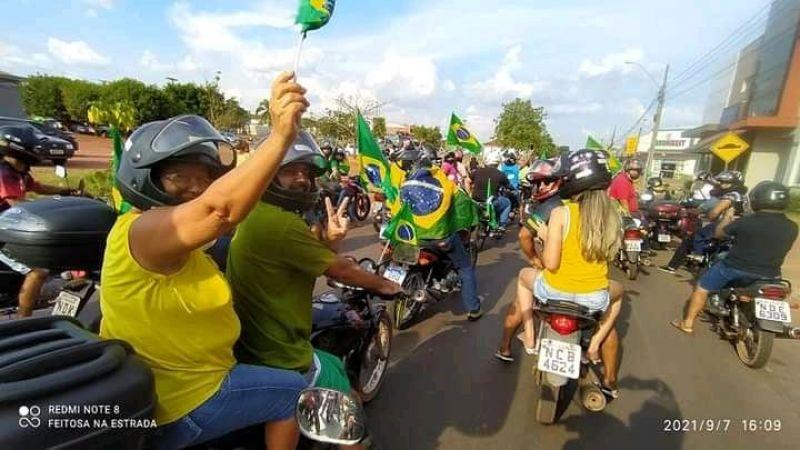 Manifestações em apoio ao Presidente Jair Bolsonaro foram registradas em Rolim de Moura no feriado de 7 de setembro