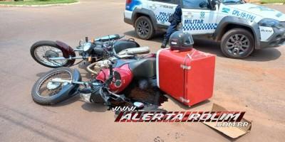 PM registrou colisão entre duas motos no Centro de Rolim de Moura nesta manhã de quinta-feira