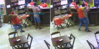 Vídeo: funcionário reage a assalto e ataca bandido com cadeirada durante roubo em RO