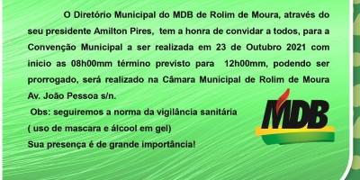 Convenção Municipal do MDB de Rolim de Moura será realizada no dia 23 de outubro