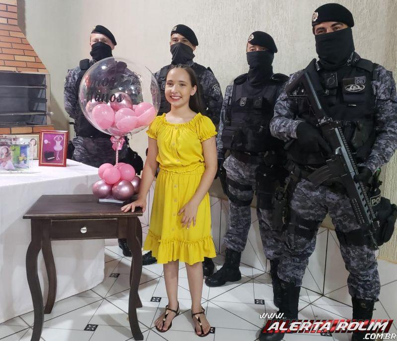 Criança realiza sonho em comemorar aniversário com a presença da Polícia Militar