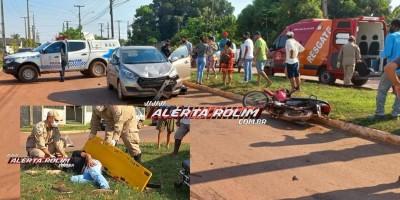 Motociclista foi socorrido pelos bombeiros após acidente entre carro e moto, no bairro Planalto em Rolim de Moura
