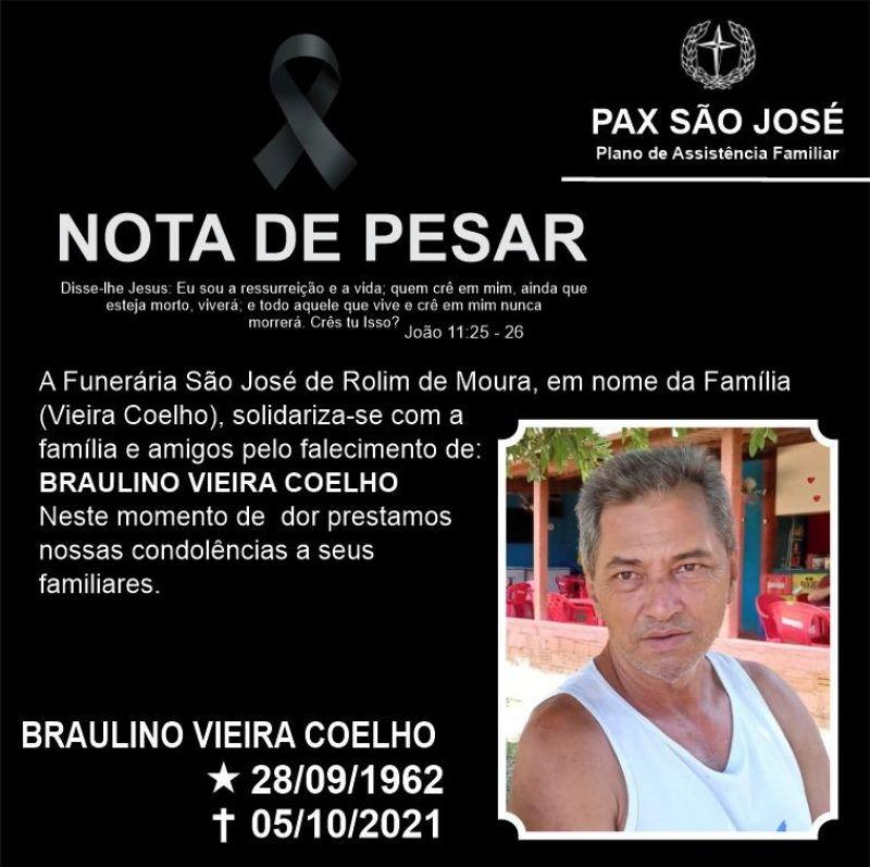 Nota de Pesar - Braulino Vieira Coelho, Servidor Público da saúde de Rolim de Moura