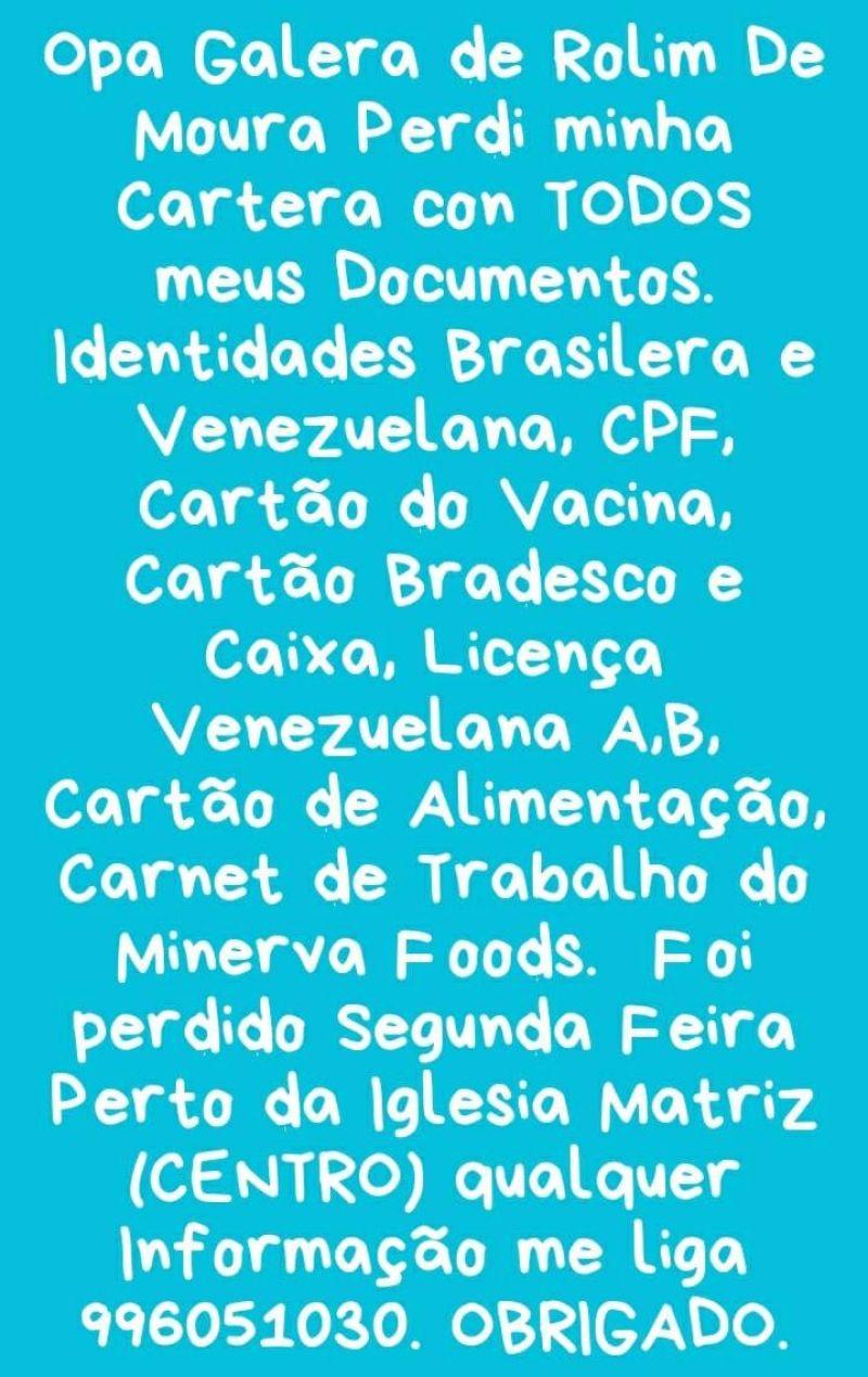 Procura-se por carteira com documentos perdidos em nome de Eduard Enrique Garcia Flaute